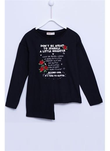 Silversun Kids Uzun Kollu T-Shirt Örme Uzun Kollu Baskılı Nakışlı Asimetrik Tişört Kız Çocuk Bk-312840 Siyah